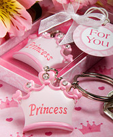 Wholesale 100 baby girl Princess Imperial crown key chain key ring keychain ribbon gift box baby shower favor souvenir wedding gift