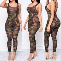 achat en gros de armée jumpsuit-Femmes Jumpsuit 2016 Sexy Rompers Army Camouflage Bodysuit Bodycon Long Pantalon sans manches Camisole Blackless O-cou Suit Femmes Combinaisons
