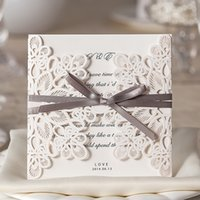 Wholesale Cheap IN STOCK Laser Cut Customizable Hollow Lace Bow Ribbon Bride Wedding Invitations Cards Custom Sweet Church CPA569