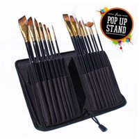 academy acrylic - 15pcs High quality travelling art paint brushes high end nylon hair private label Artist academy brush set for Acrylic paints