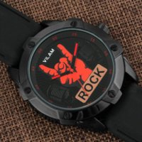 battery rock band - 2016 Brand New Cool Rock Man Fingers Model Design Fashion Trends Quality Rubber Band Japan Quartz Black Watch relogio masculino