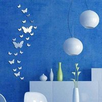 Wholesale 30Pcs DIY D Silver Acrylic Butterfly Wall Stickers Decoration on Wall Mirror Modern Design Home Decor