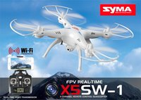 Wholesale 100 Oraginal SYMA X5SW X5SW WIFI RC Drone GHz CH Real Time HD FPV Camera RC Helicopter Drones Axis Quadcopter Gyro Quad copter