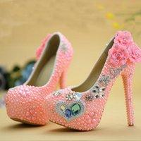 ball platforms - Blue Diamond Pink Pearl High Heel Wedding Shoes Adult Ceremony Party Ball Shoes New Designer Rhinestone Graduation Prom Pumps