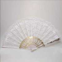 Wholesale In Stock Hot Selling White Gothic Black Red Bridal Fans Lace Sequins Wedding Accessories Fans Parasols High Quality