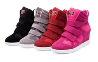 Wholesale Fashion Spring Autumn Ladies Height Increasing Shoes Women s Casual Shoes Wedges Canvas Shoes Velcro Boots Heels Hidden