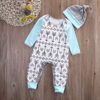 Wholesale high quality kids boy girl bodysuit Newborn Infant Baby Boys Girls Arrows Romper cotton Jumpsuit cute Hat Outfits top casual Clothes