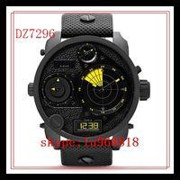 best local - TOP QUALITY BEST PRICE Drop Ship New DZ7296 DZ7297 Chronograph Analog Digital RDR four local time Black Leather Strap Men s Quartz Watch