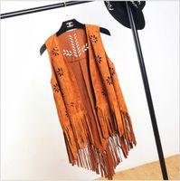 Wholesale Suede Fringe Vest New Leather Fringed Waistcoat Colete Feminino Autumn Hollow Out Chaleco Flecos Outerwear Cardigan Vest Women
