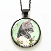 artists flowers - 10pcs Kitten necklace cut cat with beautiful flower Artist necklace Print Photo cat Art necklace