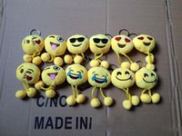 Wholesale New Design Emoji Smiley Keychains cm cellphone pendant cute yellow Stuffed Plush doll toy bag pendant