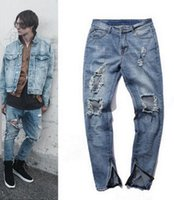 america west - Europe America Water washing Do old havoc KANYE WEST Side zipper Cultivate one s morality men jeans knee cat must be hole