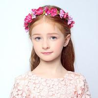 beautiful hairbows - 2016 Wedding Bridal Girl Head Flower Crown Wreath Korean version of the beautiful children Hairbows Rattan Garland Headband Hair Accessories