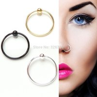 Wholesale L Steel Ball Nose Ring Open Nose Ring Surgical Eyebrow Fake Nose Ring Stud Cartilage Ring Piercing Ring Seamless Endless Tragus