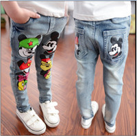 Wholesale 2016 Children Cartoon Mickey Mouse Jeans Boys Girls Fashion Denim Pants Kids Cowboy Trousers Korean Style Child Spring Autumn Casual Pants
