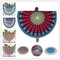 Wholesale 50pcs Indian Round Mandala Tapestry Boho Chiffon Round BeachTowels Blanket Yoga Mat Wall art Hanging Large Shawls Throw Blanket BKT090