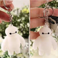 Wholesale Cute Big Hero Baymax Anime Key Chain Head Moving Cute Action Figure Toy Pendant Keychain cm