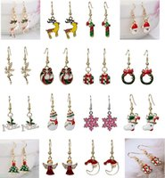 Wholesale Christmas Jewelry Santa Claus Christmas Tree Snowman Charm Earrings Lady Dangle Chandelier Earrings Christmas Ornaments Fashion Jewelry