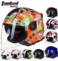 bicycle helmet liners - 2016 New German Tanked Racing dual lens half face motorcycle helmet ABS motorbike electric bicycle safety helmet T597 removable liner