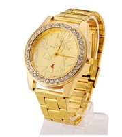 Wholesale Gold Watches for women wrist watch gridding Quartz luxury women watches lady Crystal watches as gift Hot Top Brand Fashion