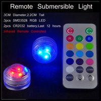 Wholesale 2016 remote submersible light waterproof Fish Tank LED lights with remote control SMD3528 RGB led flower vase infrared remote controlle