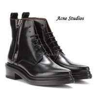acne shoes - Original Quality Hot Acne Studios Lace Up Pointed Toe Short Boots Black Patent Leather Martin Boots Side Zipper Straps Fashion Acne Shoe