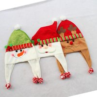 Wholesale High grade three styles Adults Christmas Decoration Hats Santa Claus hat elk hat and Snowman hat