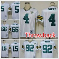 authentic packers jerseys - Throwback Packers Brett Favre RAY NITSCHKE Bart Starr reggie white Throwback th Patch Authentic Replica football jerseys