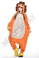 Cheap Fashion Polar Fleece Unisex Adult Onesie Cosplay Costume Lion Animal Pajamas Sleepwear For Men Women S M L XL Yellow NEWCOSPLAY