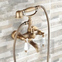 Wholesale Antique Brass Tub Faucet Wall Mounted Mixer Tap Ceramic Handles With Hand Shower