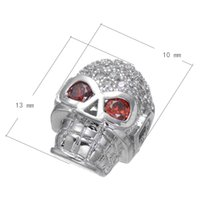 Wholesale 2016 Fashion Silver Style Brass Bead Skull Plated CZ Micro Inlay More Colors For Choice x10mm Hole About mm