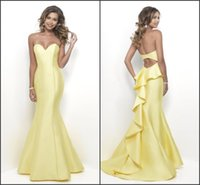 Wholesale Charming Yellow Mermaid Prom Dresses Long Satin Ruffles Back Sweetheart Open Back Floor Length Dresses Evening Wear Party Dress