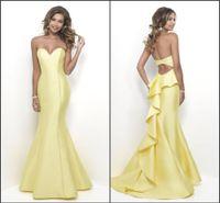 al por mayor vestidos de fiesta sirena amarillo-Vestidos de cóctel de la sirena del amor de la longitud 2017