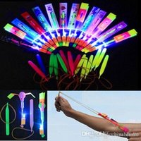 Wholesale For children LED Amazing flying arrows helicopter fly arrow umbrella Christmas Halloween kids toys Free DHL FedEx