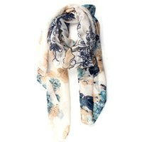 animal carving patterns - Infinity Scarf Scarves Designs for Women Rectangular Silk Carves with Pattern of Crabapple and Chinese Rose S5