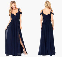 Wholesale 2017 Summer Bariano Off Shoulder Elegance Navy Blue Bridesmaid Dresses Flowing Chiffon Backless With Split Maxi Long Evening Dresses BA3523