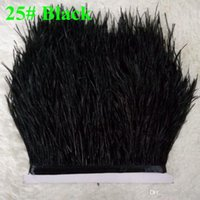 Wholesale Ostrich Feather Trimming on Satin Header Ostrich Feather Plumes Fringe Trim Ostrich Feathers Trims Fringe With Satin Ribbon Tape for Dress