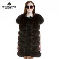 Wholesale Winter fashion fur vest Genuine Leather real fox fur vest women multiple Colour real fox fur vest genuine fox fur vest women
