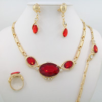 african american products - Newest Product Imitation Rose Red Zircon Pendant Necklace Earring Jewelry Sets Dubai Wedding Jewelry Sets For Women