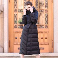 Stand Collar belted down jacket - Slim Fit Black Women Long Down Coat White Duck Down Warm Winter Coats For Ladies Clothing Hooded Belted Jacket
