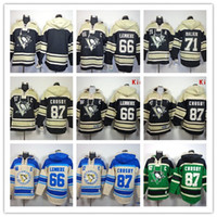 blank hockey jersey - Stitched Pittsburgh Penguins Hoody CROSBY Malkin Lemieux Blank hockey Kids men Black Green Cream Jerseys Ice Jersey Hoodie Mix Order