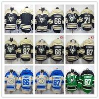 blank hockey jerseys - Stitched Pittsburgh Penguins Hoody CROSBY Malkin Lemieux Blank hockey Kids men Black Green Cream Jerseys Ice Jersey Hoodie Mix Order