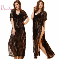 Wholesale Hot Ladies Gauze Clairvoyant Long Nightdress Black Naked Pajamas Women Lace Mesh Babydoll Sexy Long Perspetive Lingerie Thong Sexy Suits