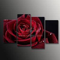 Cheap Wall Decor Canvas Painting 4 Piece Canvas Art Red Rose Digital Picture Home Pieces Modular Picture for Bedroom Dropship