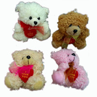 Wholesale 12pcs Plush Cotton velveteen Teddy Bears With LOVE HEART and scarf Small Doll House Craft Sitting Bear x inch Tall