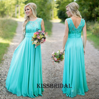 Wholesale Turquoise Long Chiffon Country Bridesmaid Dresses Lace Jewel Neck Zipper Back A line Floor Length Maid of Honor Dress Cheap Formal Gown