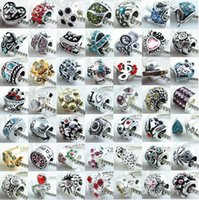 Wholesale 200pcs Mix Style European Murano Matel Big Hole Rroll Beads Fit pandora charms bracelet For European Bracelets Necklace DIY BEADS