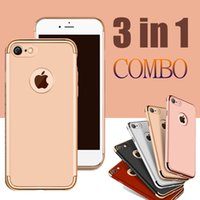 apple combo - For iPhone in Combo Matte Frosted Hybrid Slim Plating Frame Shock Proof Hard PC Back Cover Armor Case For iPhone Plus S DHL