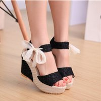 Wholesale Promotion Summer Womens Sweet Candy High Heel Wedge Platform Lace up Sandals Bowknot Ankle Strap Girls Shoes Sizes