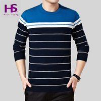 australian sweaters - Winter New Top Quality Sweaters Brand Casual Striped Real Australian Wool Sweater Men O Neck Cashmere Pullover Men OEM